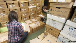 West Midlands Police documents being searched through