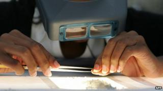 Sorting diamonds in Botswana, archive shot