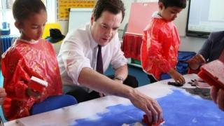 George Osborne visits a primary school in east London, June 2013