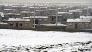 Tibet houses - rows of homes for herders as part of a resettlement programme - March 2012