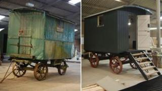 The living van before and after restoration work