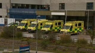 Ambulances at Royal Cornwall Hospital