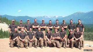 The Granite Mountain Interagency Hotshot Crew is shown in this undated handout photo provided by the City of Prescott 1 July 2013