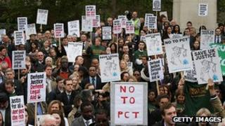 Protest against changes to legal aid in Westminster in May