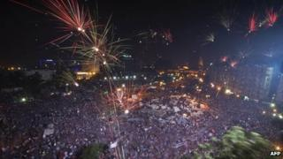 Fireworks over Tahrir Square following the army's announcement on 3 July