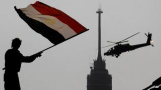 Egyptian protester and military helicopter