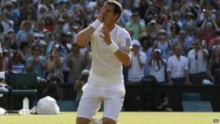 Murray drops to his kneees after taking the title