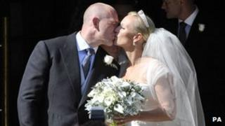 Zara Phillips and her new husband Mike Tindall
