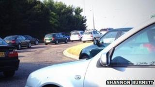 Traffic at Richmond Hill roundabout on the A338