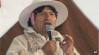 Evo Morales speaks during a meeting with Uru-Chipaya indigenous in Chipaya, Bolivia, Saturday, 6 July