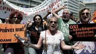 Greek teachers protesting in Athens, 11 Jul 13