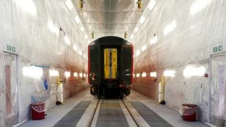 Train prepared for painting in the new paint facility at Bournemouth Train Depot