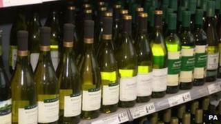 Wine in a supermarket