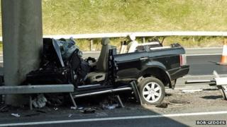 The Range Rover hit a bridge support on the motorway