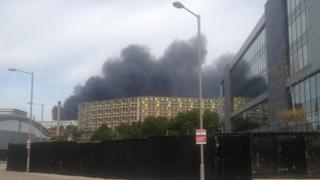 Plume of smoke over Sheffield