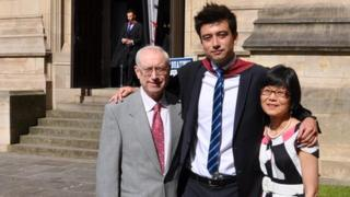 Dan Smith with his parents Steve and Su Jan outside the University of Bristol