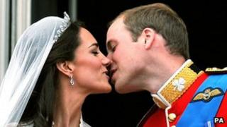 The Duke and Duchess of Cambridge kiss on their wedding day