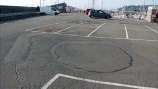 Repairs in Salerie car park in Guernsey