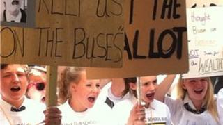 A protest outside Oxfordshire County Council