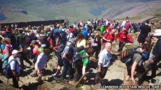 Snowdon peak on a busy day