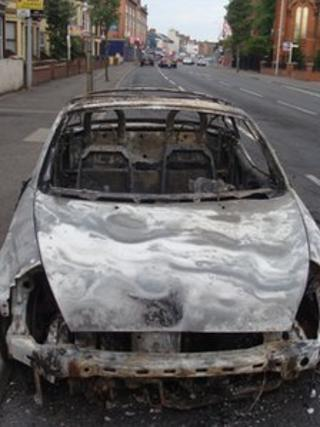 Car burnt out on Templemore Avenue at the junction of Albertbridge Road