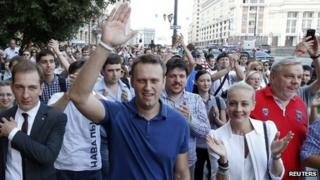 Russian opposition leader and blogger Alexei Navalny (C, front), and supporters
