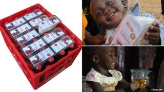 ColaLife kits in a crate and with young children