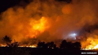 Fire at Canford heath