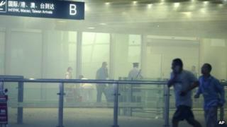 The scene at Beijing Capital International Airport after an explosion (20 July)