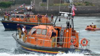 Shannon class lifeboat with current Montrose lifeboat