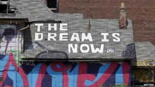 Graffiti on a house near central Detroit