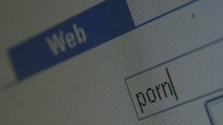 the word porn typed into a search engine