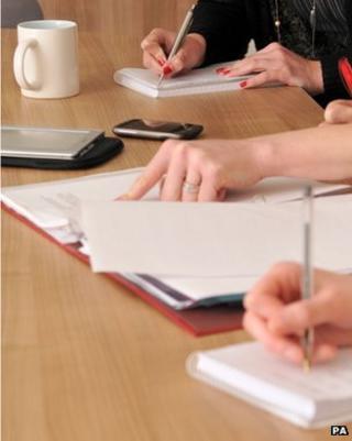 Notes being taken during a meeting