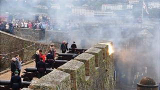 21-gun salute fired at Guernsey's Castle Cornet to celebrate the Queen's birthday in 2012