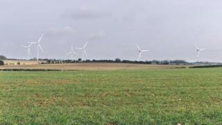 Mock-up of Woodmancott wind farm