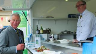 Prince Charles at a seafood stall