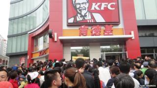 Crowds outside a new KFC restaurant in China