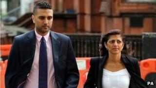Anish Hindocha (left) and Ami Denborg, brother and sister of Anni Dewani arrive at Westminster Magistrates Court in London