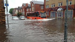 Flood water in Hucknall