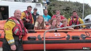 Seven people rescued near Rock thank the RNLI. Pic: RNLI