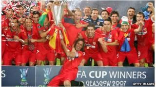 Sevilla FC celebrate 2007 UEFA Cup victory