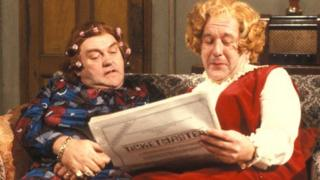 Comedian Les Dawson and comedy partner Roy Barraclough, as Cissie and Ada