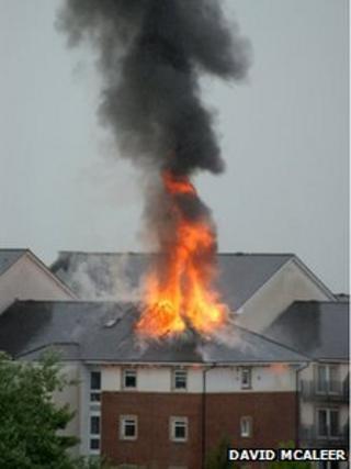 Flats on fire