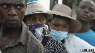 Haitians outside hospital in Saint Marc, October 2010