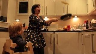 Natalie Cassidy and baby Eliza - pancake flipping