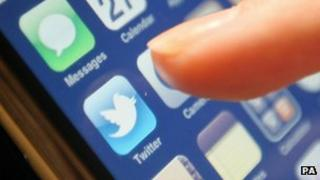 Close up of smartphone Twitter button