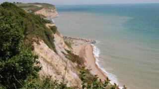 Coastline below the Fairlight cliffs