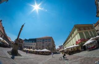 A square in Maribor, Slovenia, July 2013