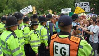Police confront protesters