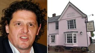 Marco Pierre White (left) and the Angel Hotel in Lavenham (right)